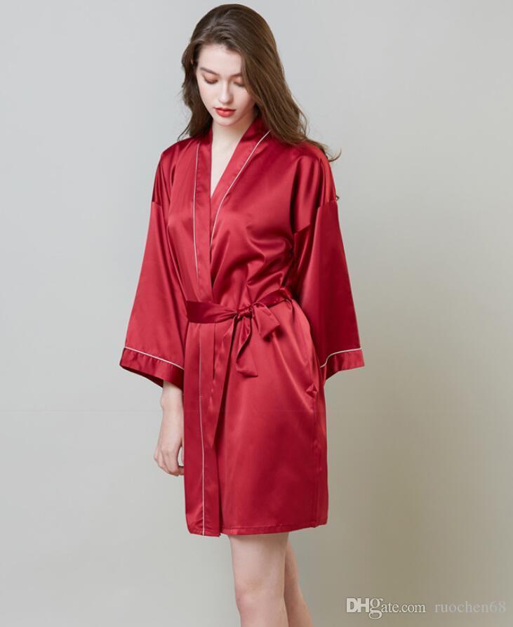 2020 novos Ladies Verão Pijamas fina vestido beleza da noiva fraque Silk Kimono Robe Pijamas Nightdress Pijamas quebrados