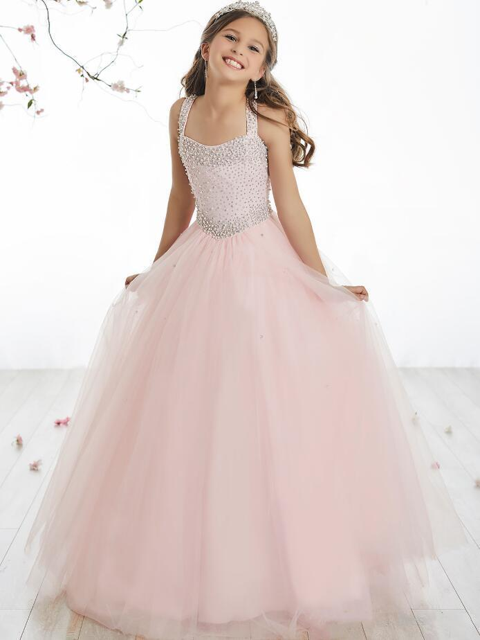 2020 Jolie Rose Tulle Halter Perles robes fille fleur Filles Pageant Robes Vacances / Anniversaire Robe / Jupe Taille personnalisée 2-14