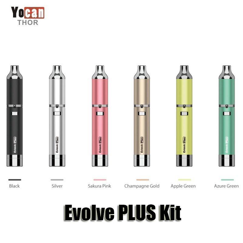 Authentic YoCan Evolve Plus Kit Purple 1100mAh batteria vaporizzatore di cera vaporizzatore al quarzo doppia bobina stealth cera vape penna vape