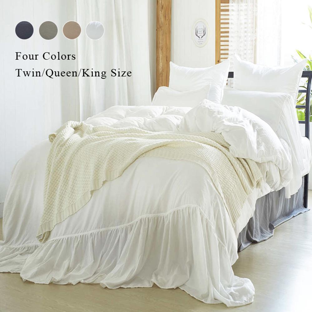 2/3pcs Solid Color Duvet Cover Set White/Gray/Navy/Khaki Bedding Sets Duvet Cover Pillowcase US Size (No Filling,No Sheet)