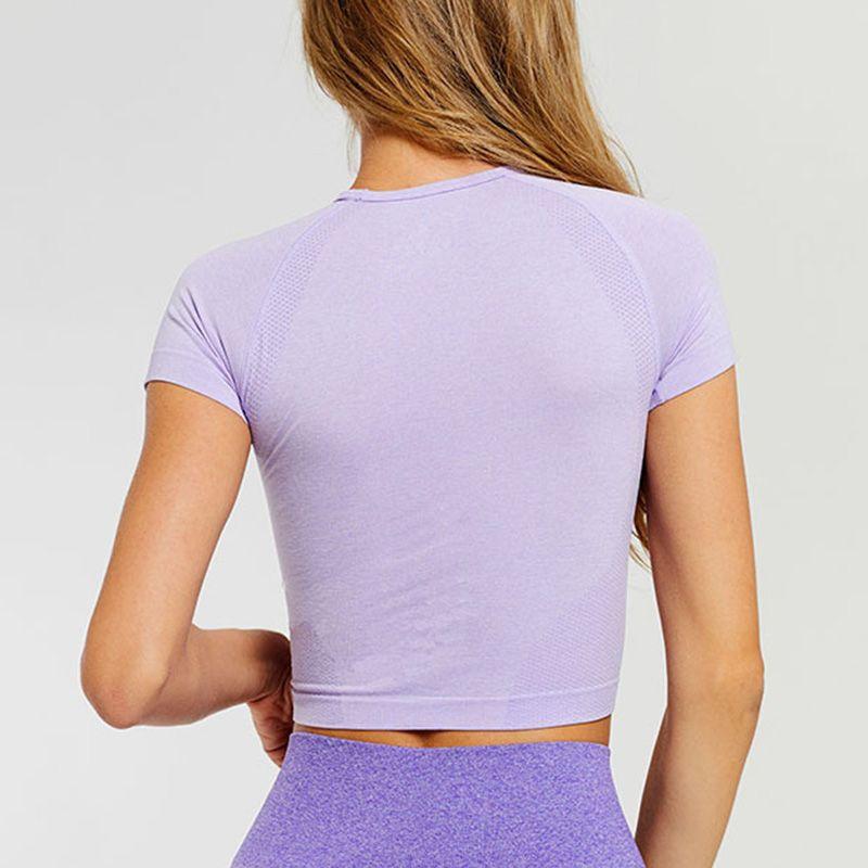 Crop Top Sport Mujeres FashionYoga camisetas de alta elástica transpirable de manga corta de deporte SEC88