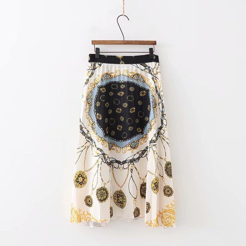 tótem de impresión nueva cadena de la vendimia de las mujeres plisada falda midi faldas de mujer lado de las damas cremallera marca mosaico casual chic faldas QUN129