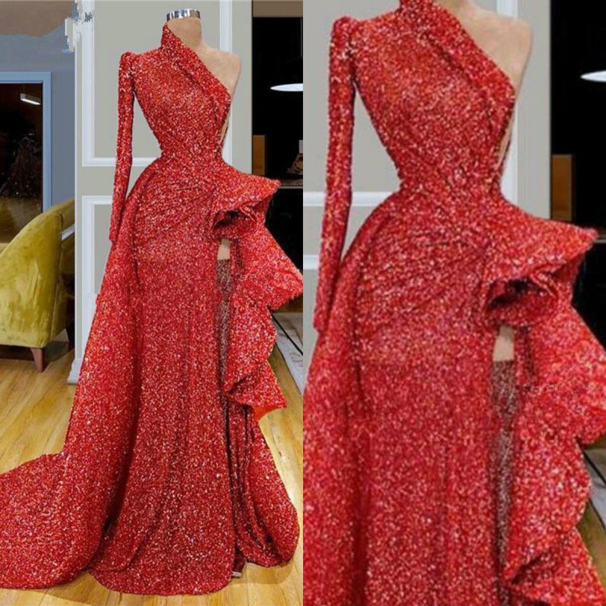 Red Glitter Abendkleid eine Schulter-Rüsche langen Ärmeln Pailletten Hoch Split Sweep Zug-formale Partei-Kleider nach Maß Lange Abendkleider