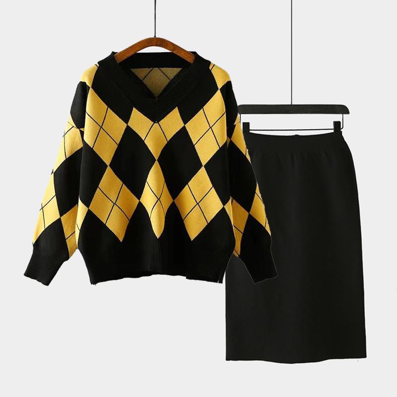 Autumn New Mulheres da manta de malha capuz soltas blusas e Saia preta Ternos Ladies Casual Knitting Dois conjuntos de peças de malha Outfits