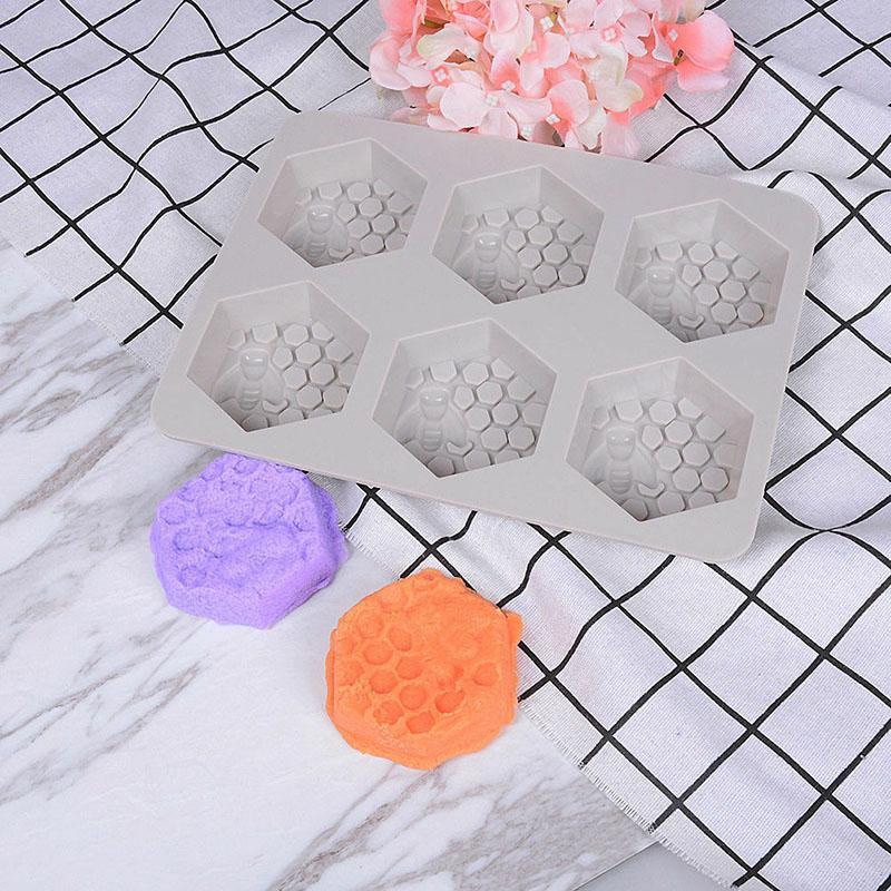 Molde de silicona 6 Agujero abeja de la miel Diseño Jabón Arcilla Cera Molde para hecho a mano del arte de DIY HG99