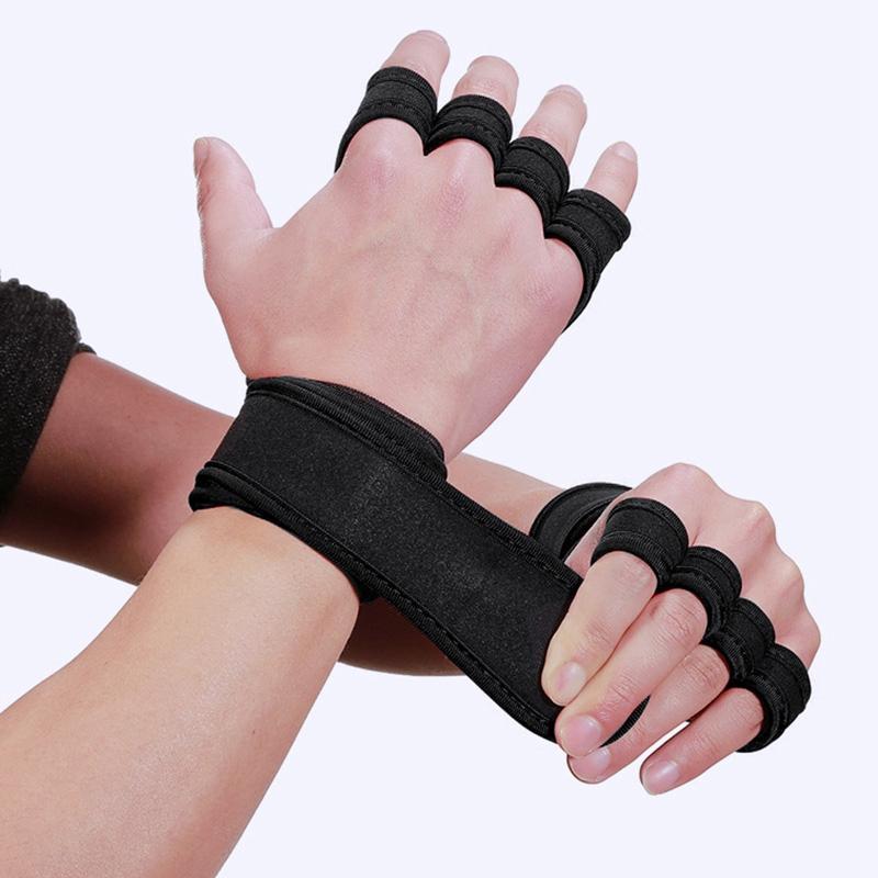 Luvas de treinamento de levantamento de peso Mulheres Homens de Fitness Sports Musculação Ginástica Grips Gym mãos Luvas de Palm Protector Preto