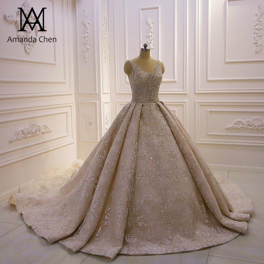 Champagne V Neck Full Lace Bola Vestidos Vestido de casamento de luxo Open Back Plus Size Arábia Saudita Dubai nupcial vestido com espartilho Voltar