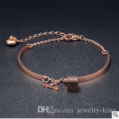 Ücretsiz nakliye örnek fiyat promosyonu paslanmaz çelik bilezik bilezikler moda bilezik vücut takılar GS984 zincirle altın zincir gül