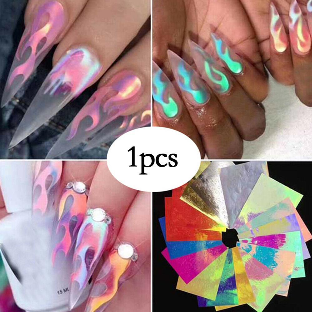 1/16 PCS Holographic Fire Flame Nail Vinyls Stencil Hollow Stickers Fires on Manicure Stencil Stickers Nail Art Decoration