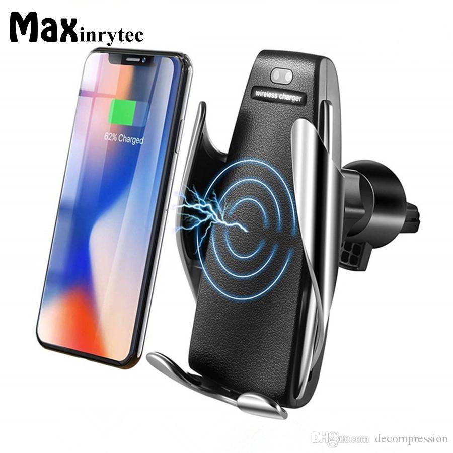 아이폰 안드로이드 범용 휴대폰에 대한 S5 자동 클램핑 10W 치 무선 자동차 충전기 360도 회전 벤트 마운트 전화 홀더
