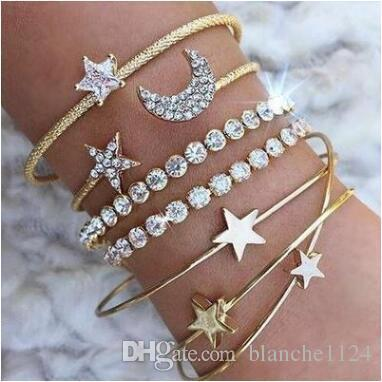 4pcs set Multilayer Charm Bracelets for Women Moon Star Diamond Crystal Alloy Wristbands Silver Gold Plated Bangles Drop Shipping