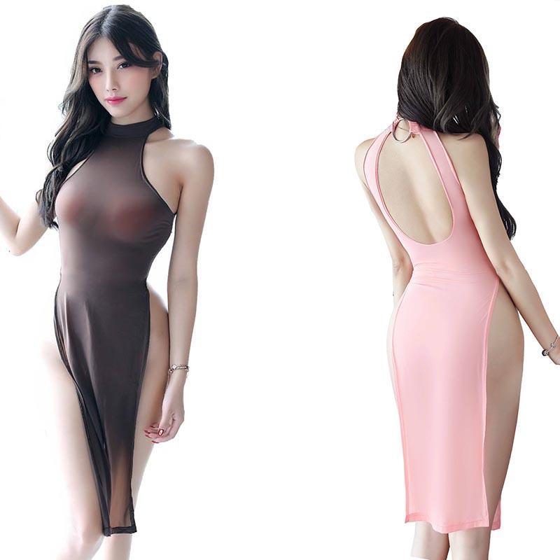 المرأة مثير شير كامد سلحفاة الرقبة الصينية عالية اللباس سبليت الجانبية طول الركبة SleepDress ملابس شيونغسام ليلة نمط اللباس