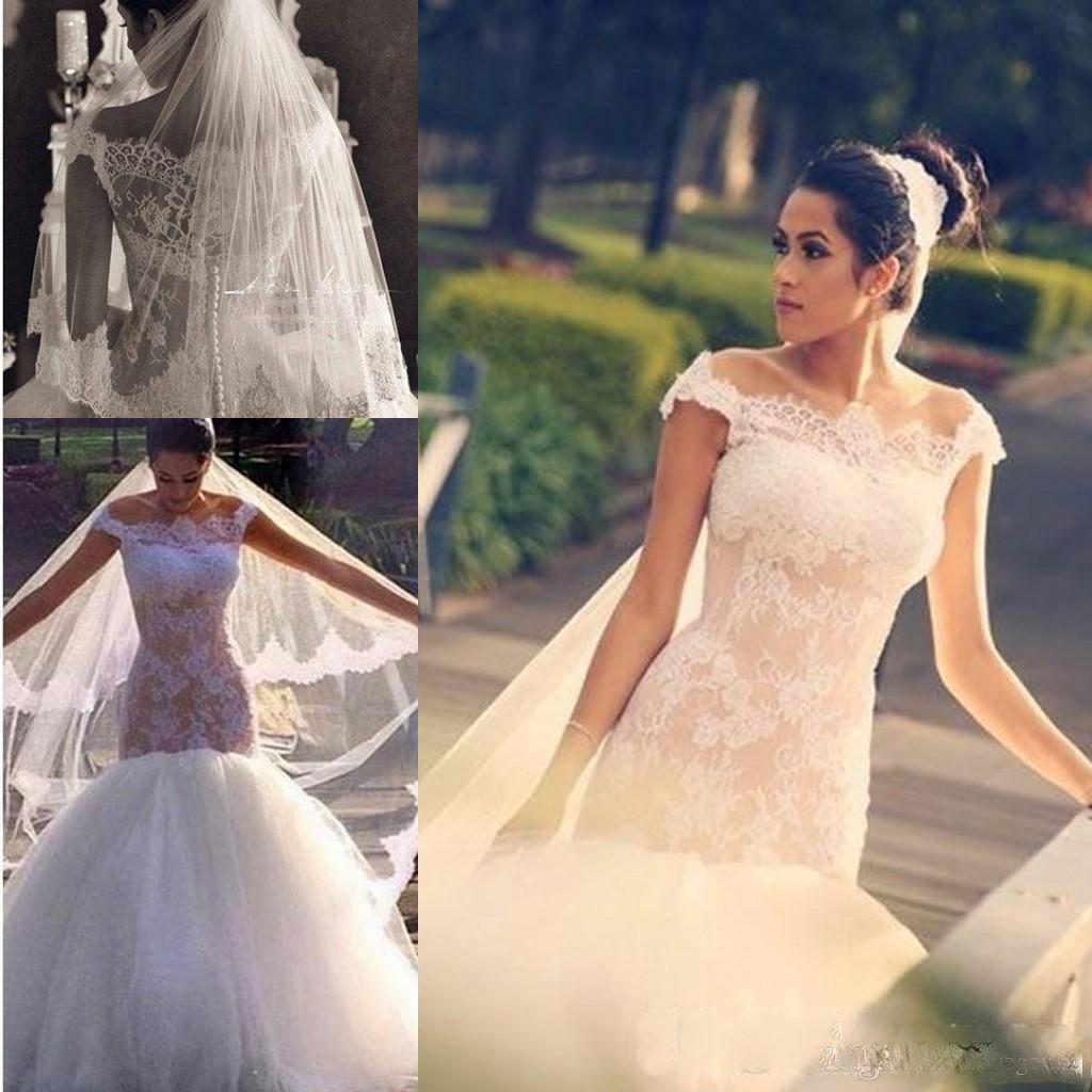 Elegante Fora Do Ombro Sereia Vestidos De Casamento Com Mangas Curtas Lace Tulle até o chão Modest Lace Vestido De Noiva Barato