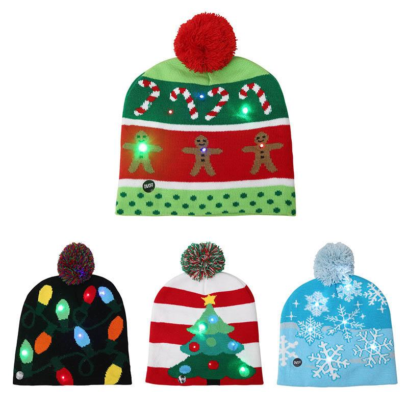 Shinning LED Christmas Beanie Warm Winter Sweater Christmas Hat Light Up Knitted Hat for Children Adult Home Party