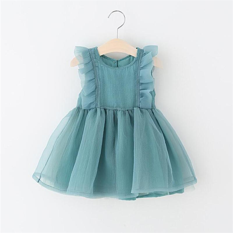 Newborn Baby Girl Birthday Baptism Wedding Party Tutu Dress White Green Summer Organza Sleeveless Princess Dresses Q190518