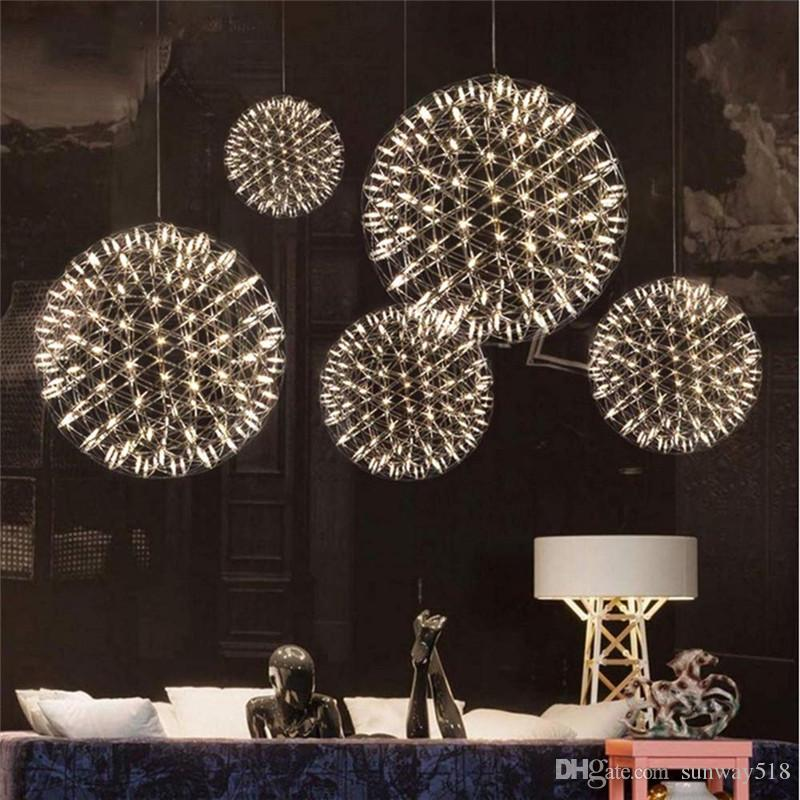 Modern Living Room Pendant Lamp LIghts Stainless Steel Ball Led Chandelier Firework Lamps Restaurant Villa Hotel Project Pendant Lights