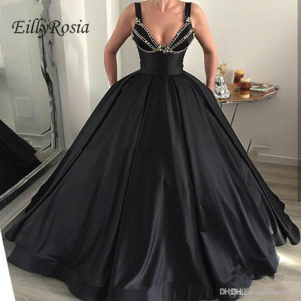 Gorgeous Black Vintage Prom Dress Ball Gown Beading Crystals