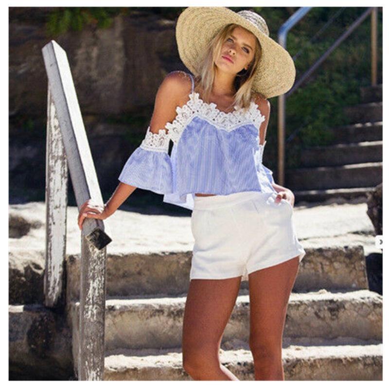 2019 тенденции моды женщины дамы лето с коротким рукавом Свободные вскользь Tops нашивки New Hot Beach Holiday Crop Тройники T-Shirt