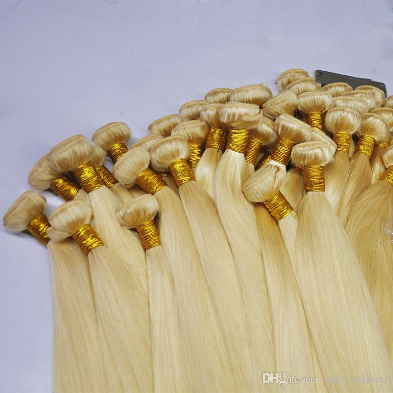 Dhgate Hot sale 613 Color Straight Hair virgin brazilian hair weave blonde bundles Hair 3 bundles Lot, Free DHL