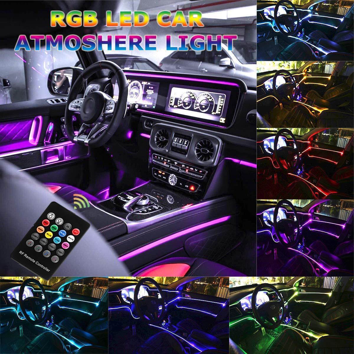 سيارة LED قطاع الخفيفة - موسيقى RGB أضواء النيون لهجة - 5 في 1 مع 6 متر / 236.22 بوصة، وتصميم داخلي جو قطاع مصباح