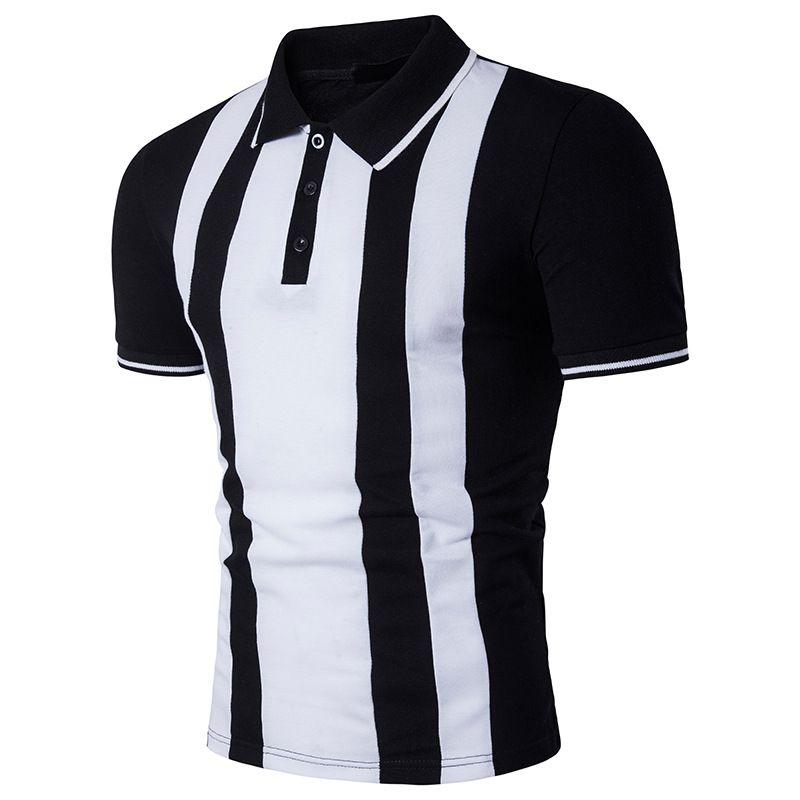 Hommes 2020 de luxe de T-shirt à manches courtes d'été Taille Plus T-shirts rayé lambrissé Hauts pour hommes Vêtements