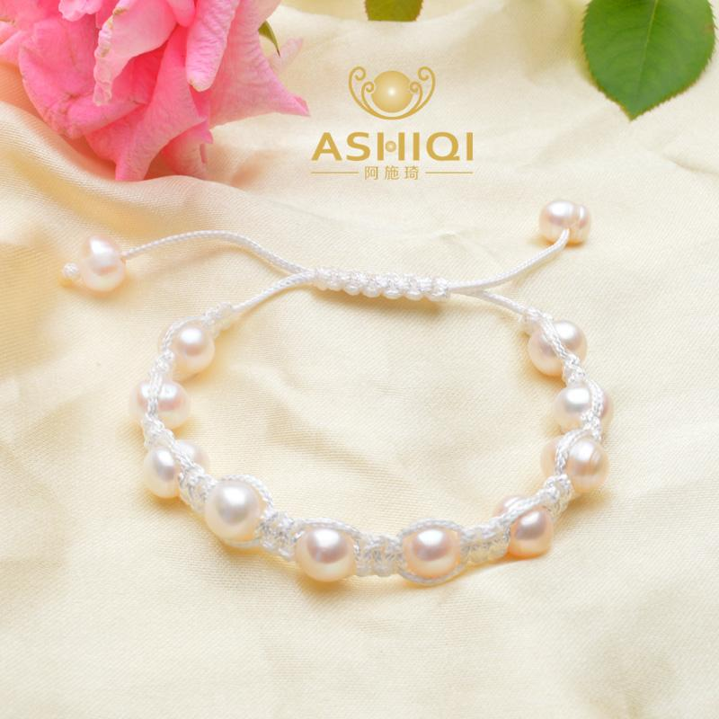 ASHIQI Natural Genuine Freshwater Pearl Lucky Charm Tibetan Bracelets For Women Handmade Knots colour Black Rope Christmas Gift