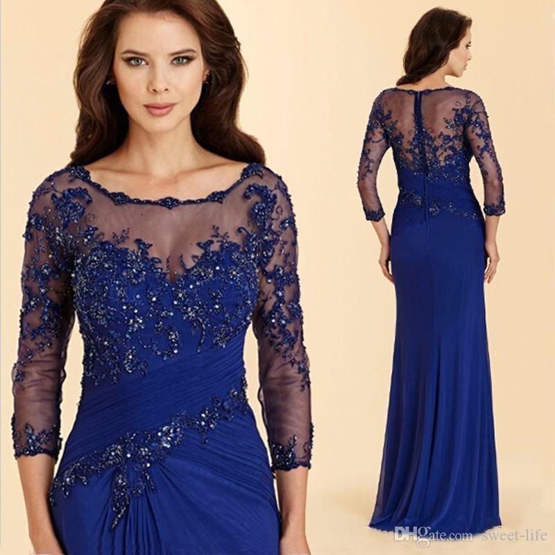 Royal Blue Mãe Lace do Wear Noiva Vestidos Mãe Noivo Vestido Lady Mulheres Formal Evening vestidos de festa de casamento Evening