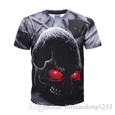 New fashionable men's shirts summer dark skeleton skeleton 3D printed T shirt short sleeve shirt young men's clothing hot sale