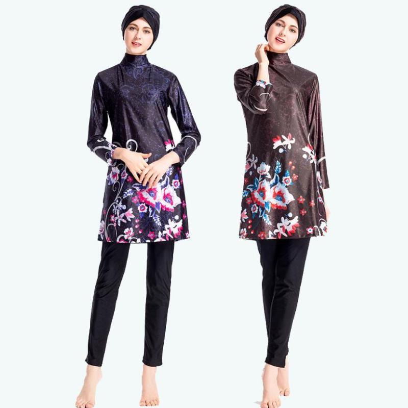 2020 donna costume da bagno Burkini Hijab Stampato Costumi da bagno Ragazza musulmana Medio Orientale islamica Swim Wear tre pezzi Modest costume da bagno