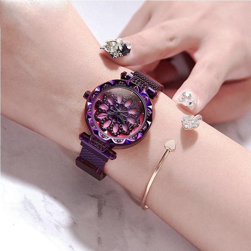 Orologio da donna in oro New Creativo LUCKY TIME Orologio da polso magnetico Orologio magnetico in oro rosa con strass viola stellato Orologio femminile