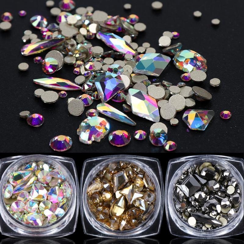 1 صندوق لماع الماس 3D مسمار الفن Rhinstones مختلط مسمار جولة المعين الأحجار عودة شقة جوهرة مجموعة مجوهرات بريق زينة LY1607