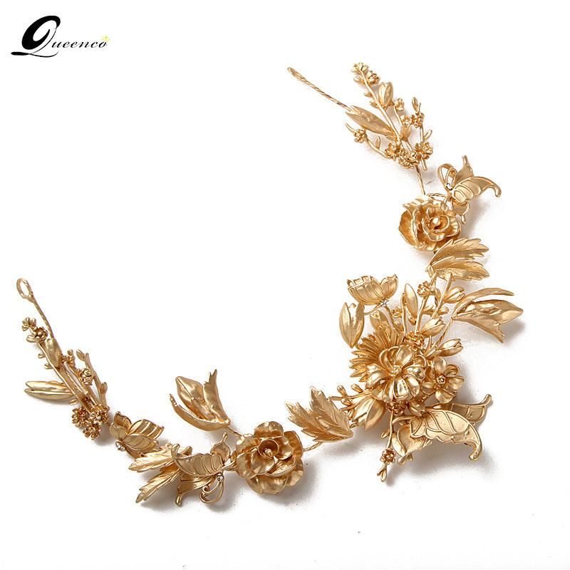 Gold Flower Bridal Tiaras Vintage Bridal Hair Jewelry Wedding Hair Accessories Bridal Headpiece Women Tiara Butterfly Soft Crown Y200409