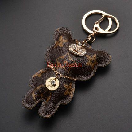 Высококачественный кожаный медведь стиль брелок творческий мужской женский медведь брелки Мужчины Женщины пары персонализированные ключи от автомобиля подвески Бесплатная доставка