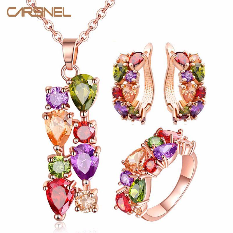 CARSINEL Ensembles de bijoux colorés Zircon cubique hypoallergéniques or rose couleur Collier / Boucles d'oreilles / anneau de mariage Bijoux pour les femmes