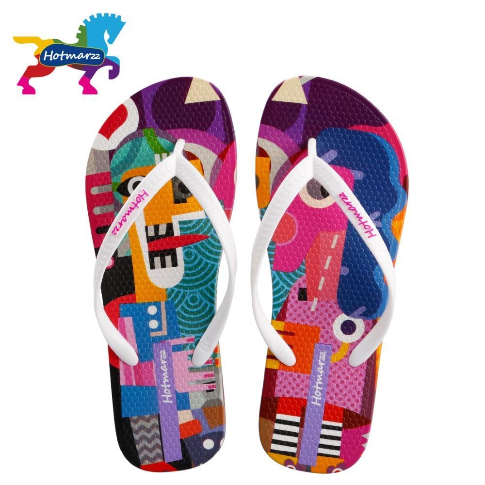 Hotmarzz Women Flip Flops Cartoon Graffiti Slippers Beach Sandals Summer Shoes 2018 Pool Shower Shoes
