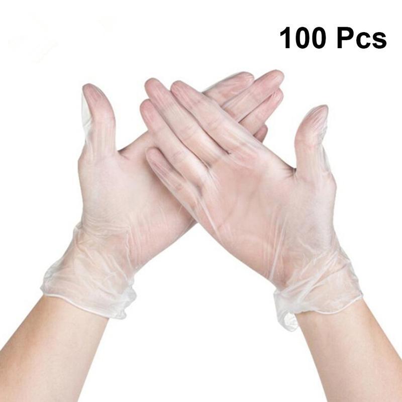 1oopcs кухня одноразовые перчатки прозрачные ПВХ одноразовые татуировки перчатки домашнего использования чистящие перчатки кухня кулинария