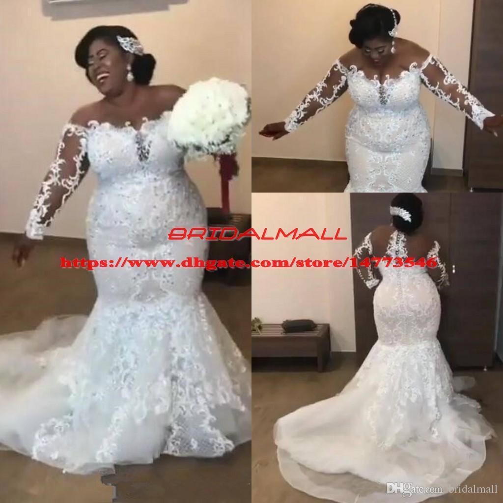 Sheer Long Sleeves Lace Plus Size Afrikanska Bröllopsklänningar Mermaid 2019 Sexiga Mesh Top Appliqued Beaded Bridal Gowns Custom Vestidos de Novia