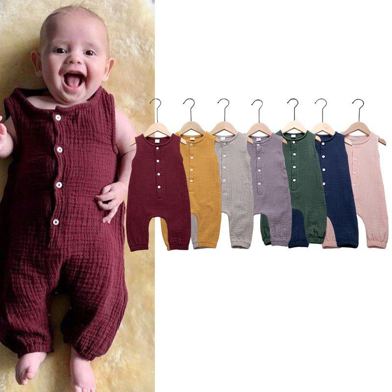 Nette Kinder Neugeborenes Baby-Mädchen-Baumwollleinen Body Fest Ärmel gestreifter Overall Outfit Sommer-beiläufige Kleidung 0-24M