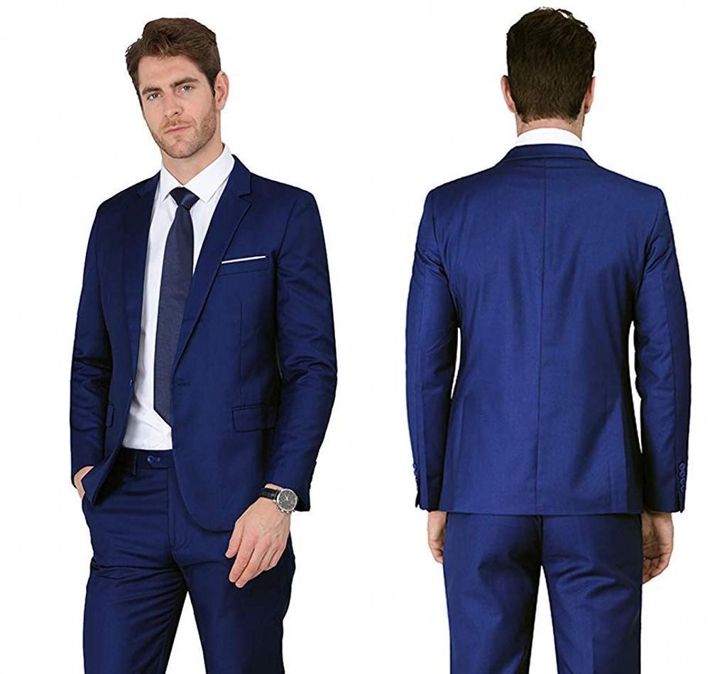 Neue Beliebte Button Blauer Bräutigam Smoking Notch Revers Groomsmen Herren Anzüge Hochzeit / Prom / Abendessen Blazer (Jacke + Pants + Krawatte) K480