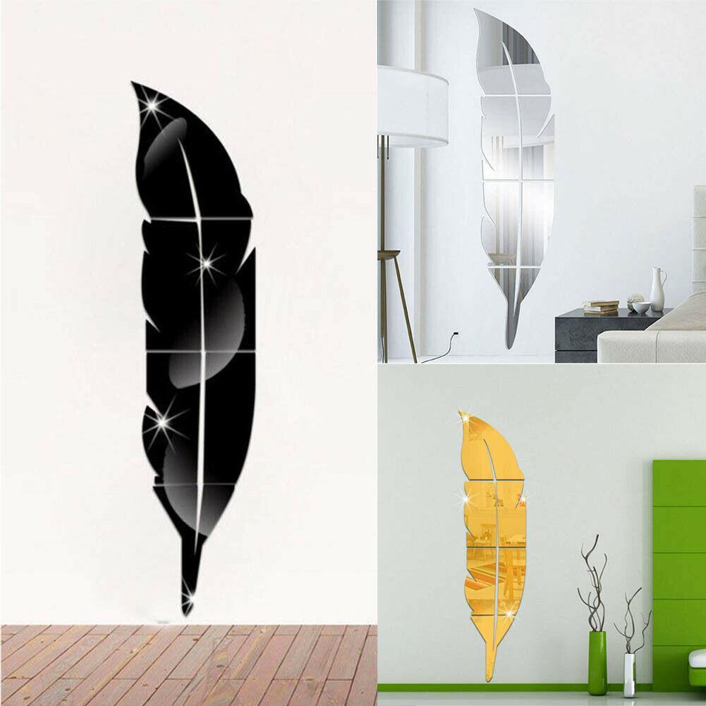 DIY Moderne Plume Plume Style Acrylique Miroir Stickers Muraux Salle Décoration 3D Plume Miroir Wall Sticker Chambre Decal
