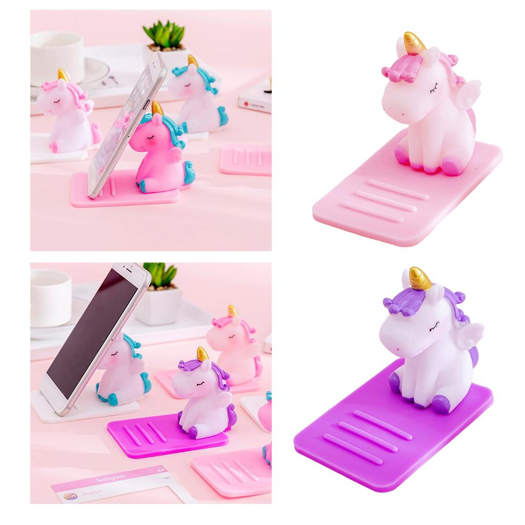 2pcs Cute Unicorn Smartphone Stand Holder Desktop Animal Cell Phone Mount Stand