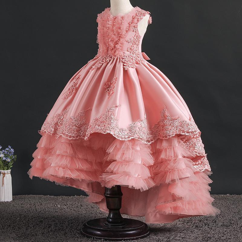 Kids Girls Pageant Princess Dress Bowknot Party Evening Tutu Wedding Dresses