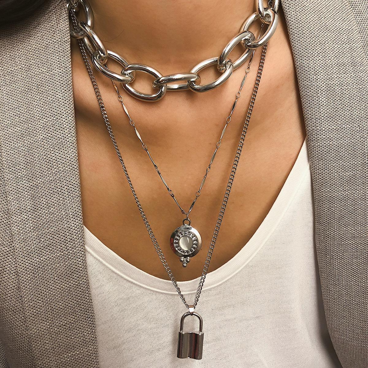 joyería de moda exagerada bloqueo de diamante sencillo de múltiples capas largo collar colgante de las mujeres de cadena metal punk