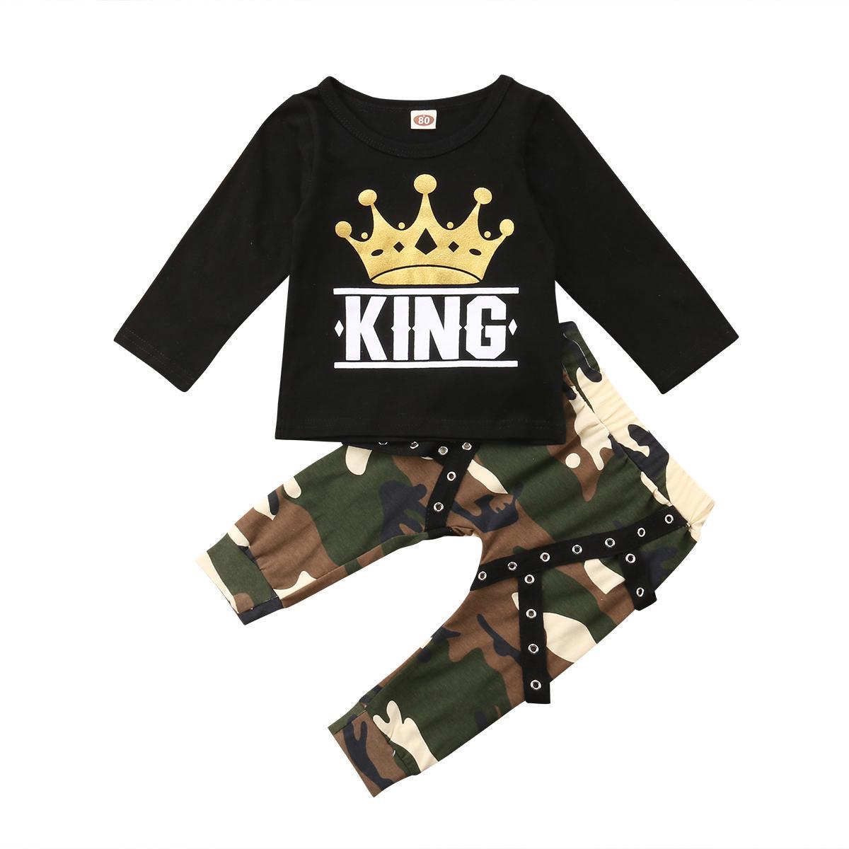 Ragazzo Lettera a maniche lunghe bambino dei vestiti del bambino scherza Stampa Tops T-shirt + lungo Camo Pantaloni Harem 2PCS Outfits Set