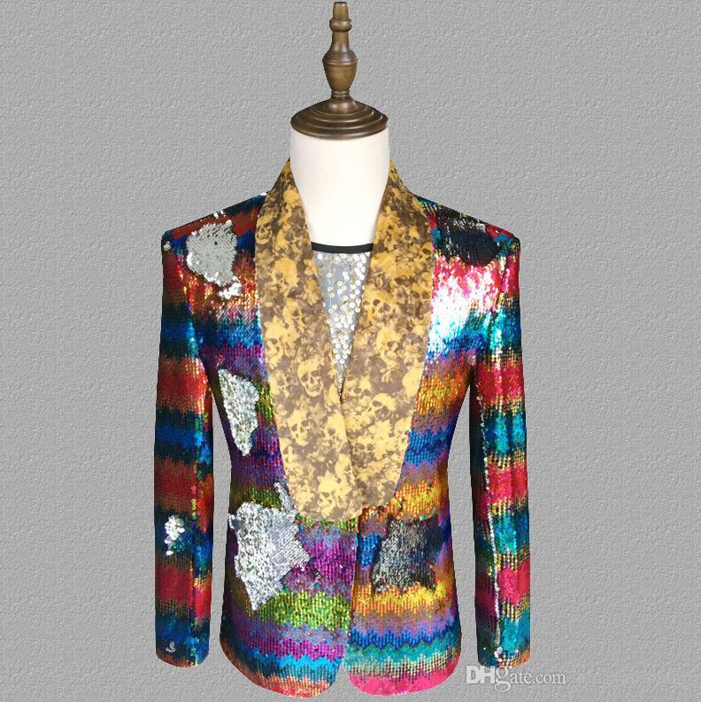 Colorful flip sequins blazer men suits designs jacket mens stage singers clothes dance star style dress punk rock masculino homme