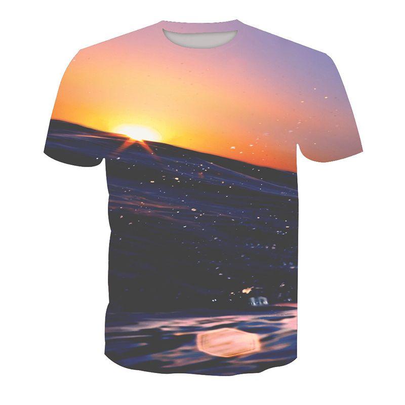 Man T-shirt Scenery 3D Digital Full Printed Casual Short Sleeves Tee Shirt Tops