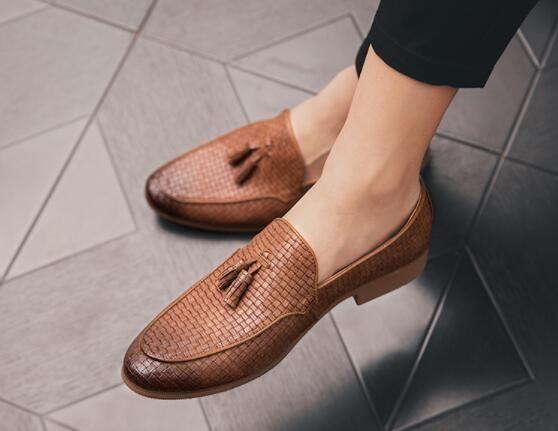 Новые мужские ботинки платья Тканые картины мокасины свадебные ботинки Zapatos де novio