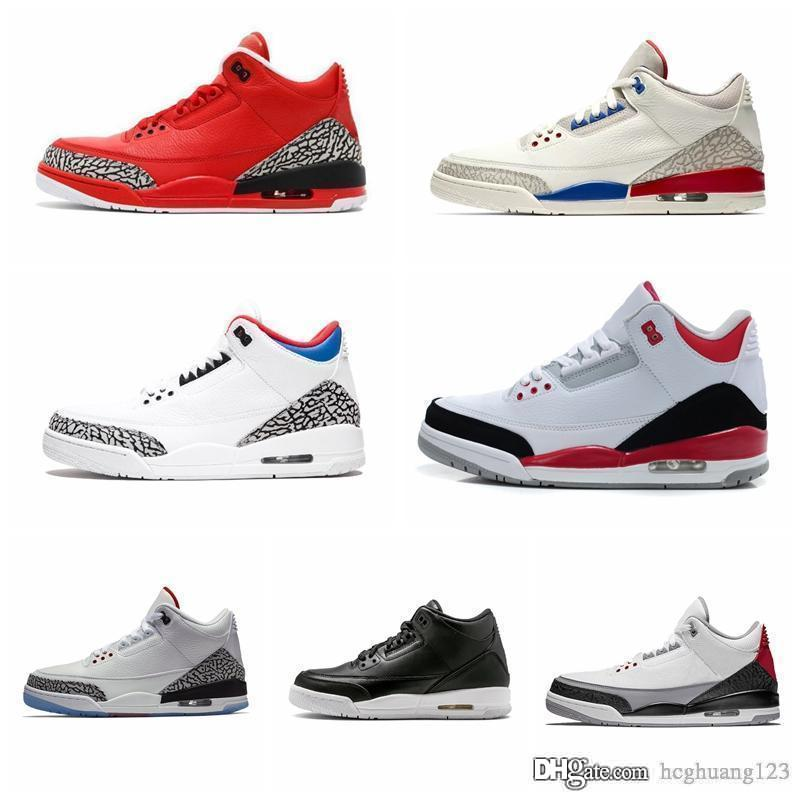 designer shoes 3 Men Basketball Shoes Black White Cement Cyber Monday Katrina Quai 54 Fire Red Jumpman 3S Sneakers