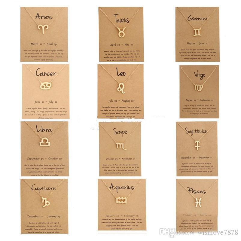 Toplu Olarak Hediye kartı takımyıldızı işareti kolye Altın zincirleri kolye İçin Erkekler Kadınlar Moda Takı Sıcak 12 zodyak Kolyeler