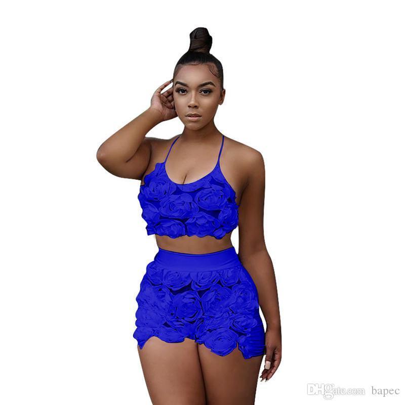 Verano de las mujeres 2pcs remiendo de diseño pantalones forma los cortocircuitos de las mujeres del halter del cordón ropa ocasional